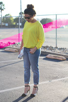 yellow Forever 21 sweater - Paige Denim jeans - Nordstrom bag