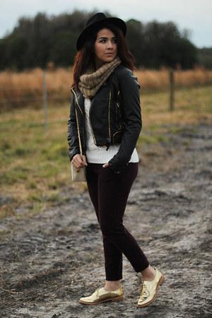 camel H&M scarf - gold oxfords sam edelman shoes