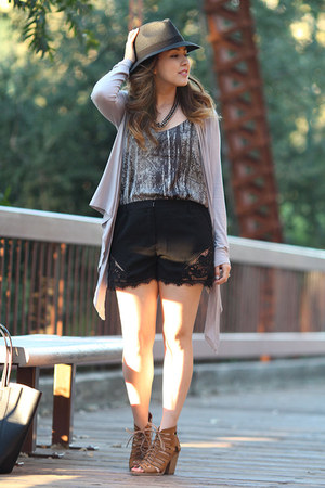 H&M bag - carylane hat - Forever 21 shorts - Pop Basic cardigan