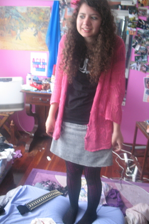 pink op shop cardigan - black luna parade t-shirt - gray skirt - black tights -