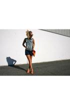 JCrew vest - JCrew bag - American Eagle shorts - franco sarto wedges