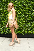 madewell shorts - J Crew bag - madewell sunglasses - Gap wedges - JCrew blouse