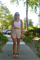 JCrew bag - Anthropologie shorts - H&M blouse - JCrew sandals