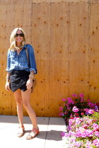 JCrew blouse - JCrew bag - Zara shorts - sam edelman sandals