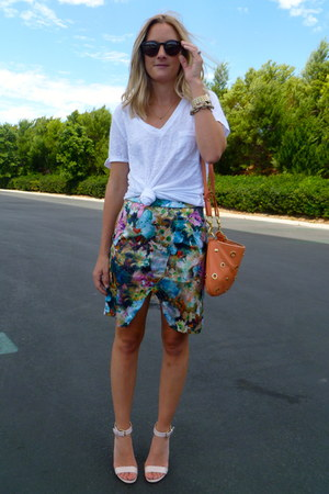 anthom skirt - Jcrew shirt - JCrew bag - JCrew heels