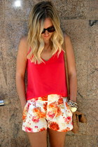 JCrew bag - Zara shorts - JCrew wedges - JCrew blouse