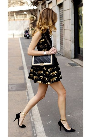 bag - dress - black point pumps