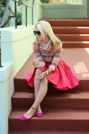 shirt - rose pink skirt - color block Aldo flats - accessories - accessories