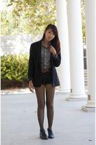black calvin klein blazer - gray American Apparel shirt - brown vintage belt - b