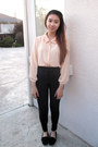 Peach-sans-souci-shirt-black-riding-pant-american-apparel-pants