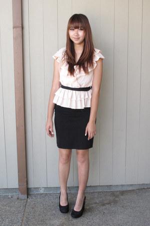 ruffled H&M blouse - pencil skirt H&M skirt
