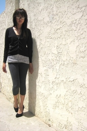 second hand glasses - banana republic sweater - H&M blouse - Charlotte Russe leg