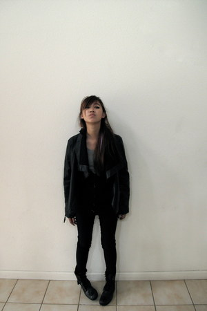 black boots - black jacket - black leggings - heather gray shirt - black hoodie