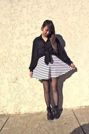 sheer thrifted blouse - harness Deena & Ozzy boots - striped dress H&M dress
