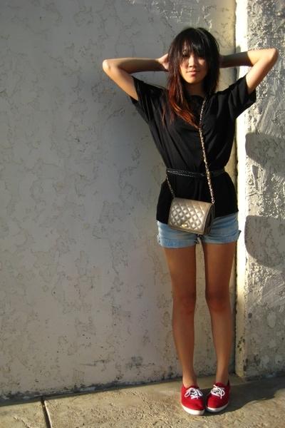 beige purse - red Keds shoes - black Kenneth Cole shirt - blue Target shorts