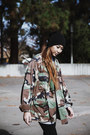 Black-cotton-beanie-forever-21-hat-dark-green-camo-oversized-thrifted-jacket