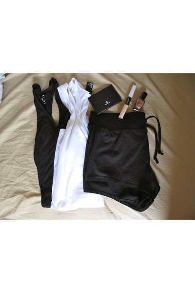 black shorts H&M shorts - white sheer H&M top - black tank top H&M top