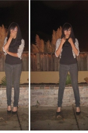 No label scarf - forever 21 sweater - thrifted shirt - Cheap Monday pants - Aldo