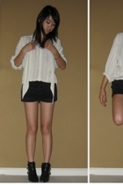 blouse - forever 21 shorts - shoes