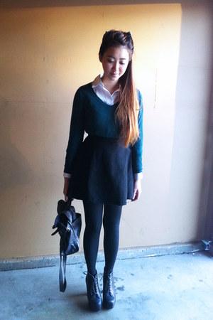 black circle American Apparel skirt - dark green cotton Mossimo sweater