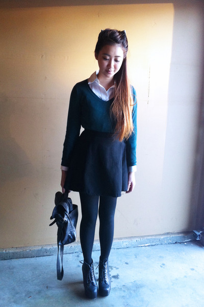black circle American Apparel skirt - dark green cotton Mossimo sweater