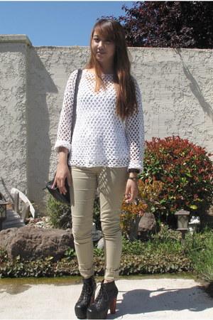 platform Jeffrey Campbell heels - mesh sweater - shoulder bag Nordstrom bag