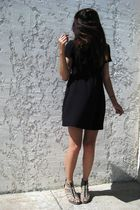 black Forever 21 dress - brown H&M shoes