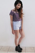buckle boots - zip up American Apparel shorts - silk Fremont blouse