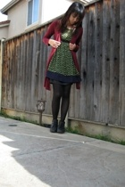 Forever21 sweater - Lux dress - thrifted skirt - Old Navy stockings - thrifted b