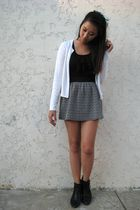 blue American Apparel accessories - white cardigan - black blouse - black skirt