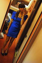 blue dress - black shoes