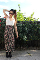white caged blouse - black franco sarto boots - black floral maxi Express skirt