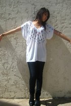 black vintage boots - blue lux uo pants - white Forever21 blouse