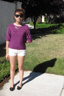 White-basic-h-m-shorts-magenta-secondhand-jumper-black-forever-21-glasses