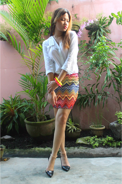 Offline Blogshop skirt - white Mango blouse - Zara heels