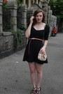 Dark-gray-urban-outfitters-dress-light-pink-unknown-bag-salmon-h-m-belt