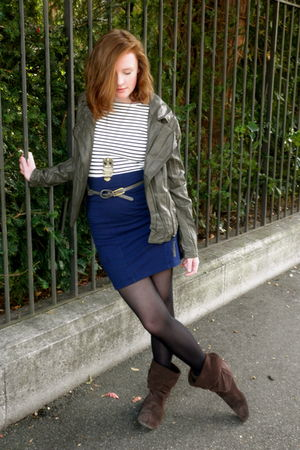 green camaieu jacket - blue Forever 21 skirt - brown unknown boots - black Mims