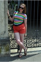 white striped Zara shirt - salmon H&M shorts - black wafers H&M sunglasses