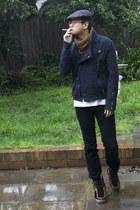 maroon vintage boots - denim Levis jeans - Zara jacket - Zara scarf