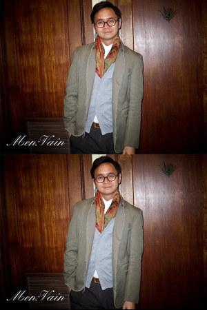 Manvious blazer - vintage scarf - Soda pants - seed cardigan - Guess belt