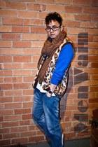 fake fur vintage vest - denim Target jeans - wool vintage scarf