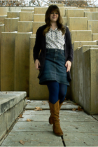 white ecote shirt - black BDG cardigan - blue Converse skirt - blue Urban Outfit
