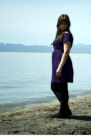 purple Silence &amp; Noise dress - gold necklace - black Apt 9 tights - purple Steve