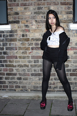 black H&M shorts - white Motel Rocks top - black Wildchild Industries hoodie
