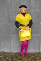magenta tights - yellow vintage bag
