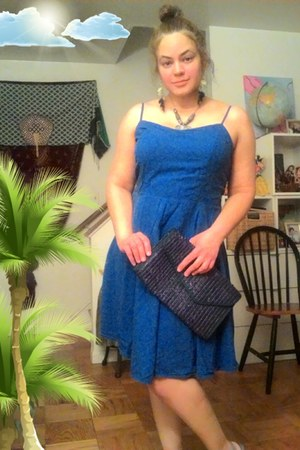blue cotton thrifted dress