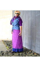 blue denim vest - purple roxy dress - purple knitted scarf