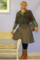 army green blazer - olive green sweater - army green skirt