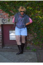 heather gray handmade scarf - blue cut off shorts