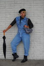 Black-beret-hat-denim-vintage-jumper
